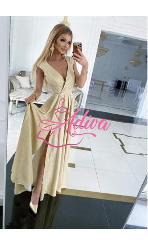 Trblietave zlate spoločenské šaty Ilona brokat