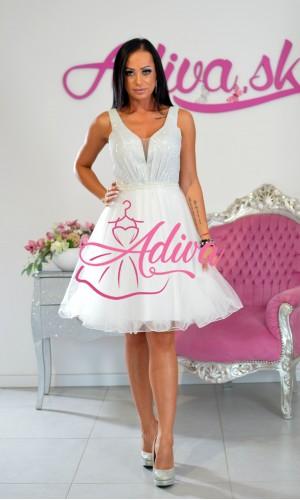 Krátke biele tylové šaty Brigitte