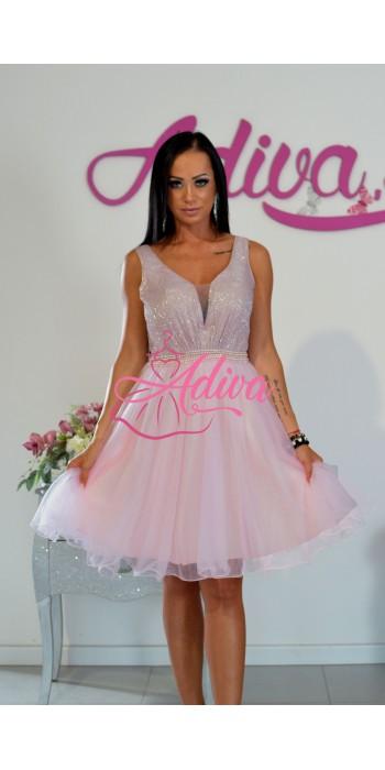 Krátke ružové tylové šaty Brigitte