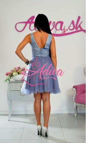 Krátke modrofialové tylové šaty Brigitte