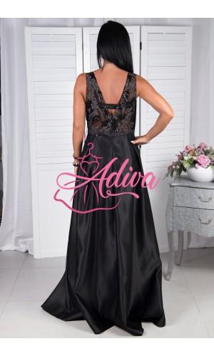 Dlhé saténové čierne spoločenské šaty  OPALE