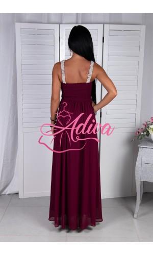 Dlhé bordové spoločenské šaty s prekríženými ramienkami