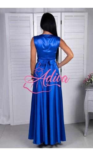 Kráľovsky modré dlhé spoločenské šaty so štrasovým opaskom