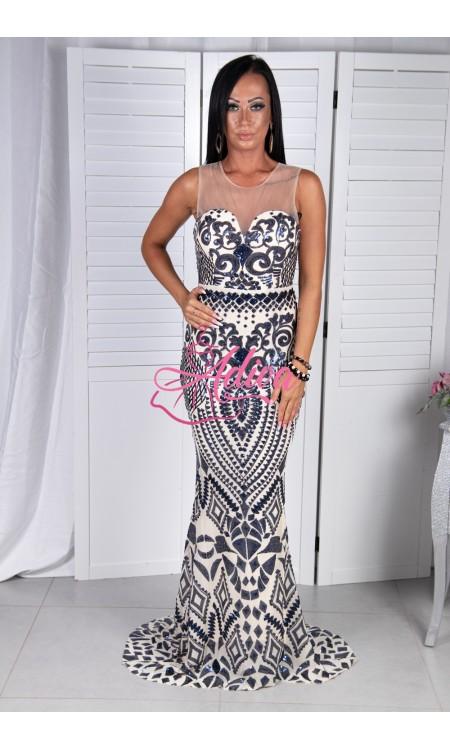 Priliehavé spoločenské šaty s modrými flitrami AMANDA