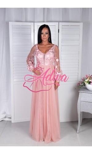 Romantické ružovo-marhuľkové šaty KELYS