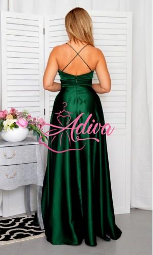Dlhé saténové  spoločenské šaty zelené DORIANE