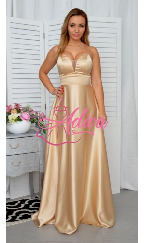 Dlhé saténové  spoločenské šaty zlaté DORIANE