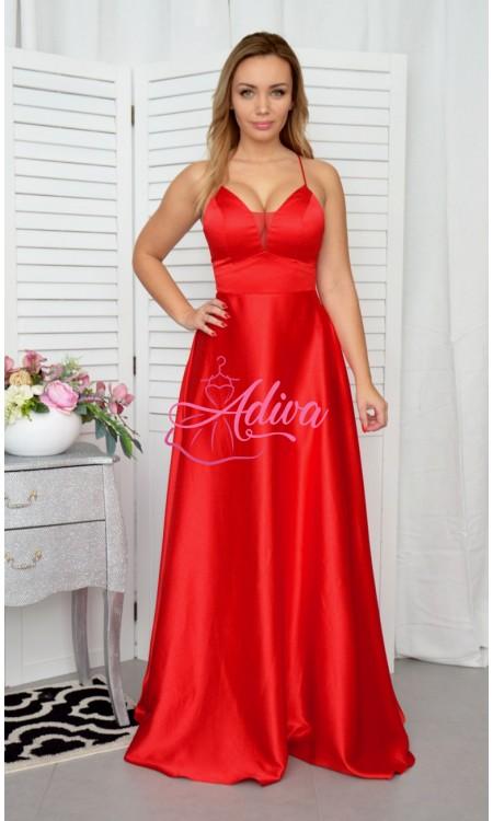 Dlhé saténové  spoločenské šaty červené DORIANE