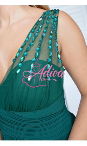 Dlhé zelené spoločenské šaty Natalia