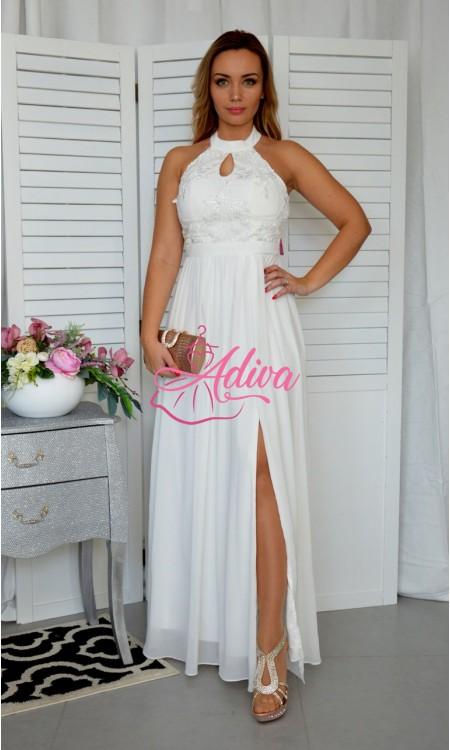 Biele spoločenské šaty s rozparkom EMILY
