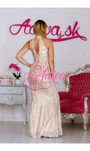 Zlaté priliehavé dlhé šaty Folderma