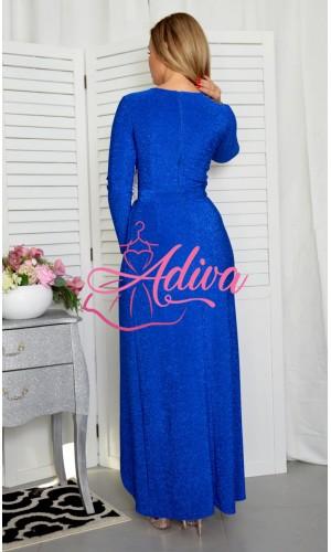 Modré spoločenské šaty s dlhým rukávom Holly