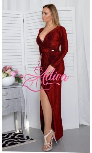 Bordové spoločenské šaty s dlhým rukávom Holly