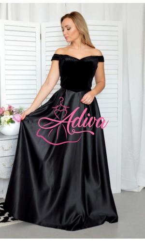 Plišové čierne spoločenské šaty Royal