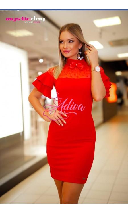 Elegantné červené šaty s volánovými rukávmi