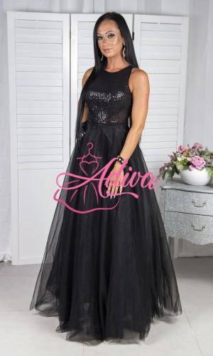 Čierne tylové spoločenské šaty EOLIA