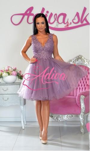 Sivofialové tylové krátke šaty Dastyna