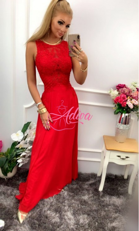 Červené dlhé spoločenské šaty BENTLEY