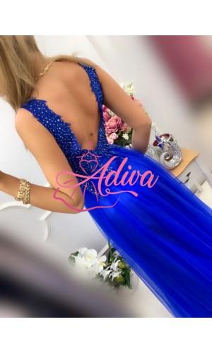 Modré tylové dlhé spoločenské šaty LOTOS