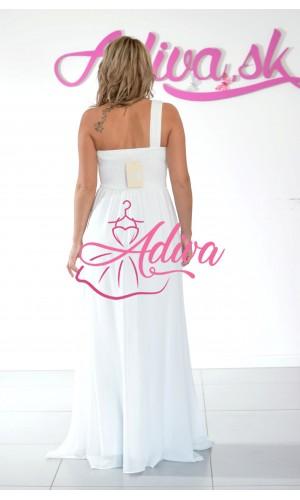 Biele spoločenské šaty s kvietkami cez jedno rameno LOHANN