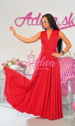 Červené dlhé multiway spoločenské šaty na rôzne viazanie