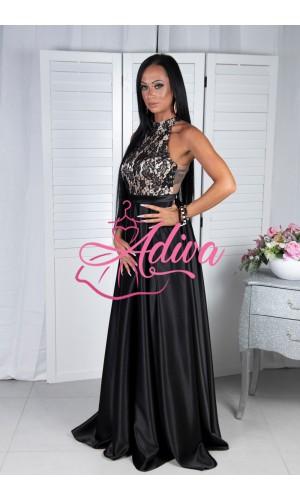 Čierne spoločenské šaty so saténovou sukňou CALISTA