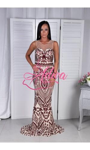 Priliehavé spoločenské šaty s bordovými  flitrami AMANDA