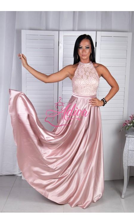 Staroružové spoločenské šaty so saténovou sukňou CALISTA