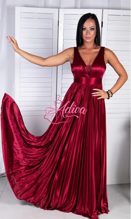 Lesklé bordové spoločenské šaty SELENE