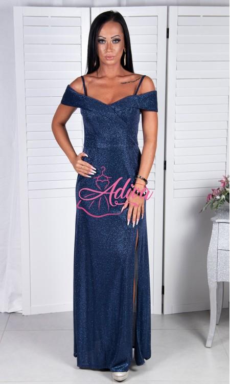Luxusné tmavomodré trblietavé šaty Johanna