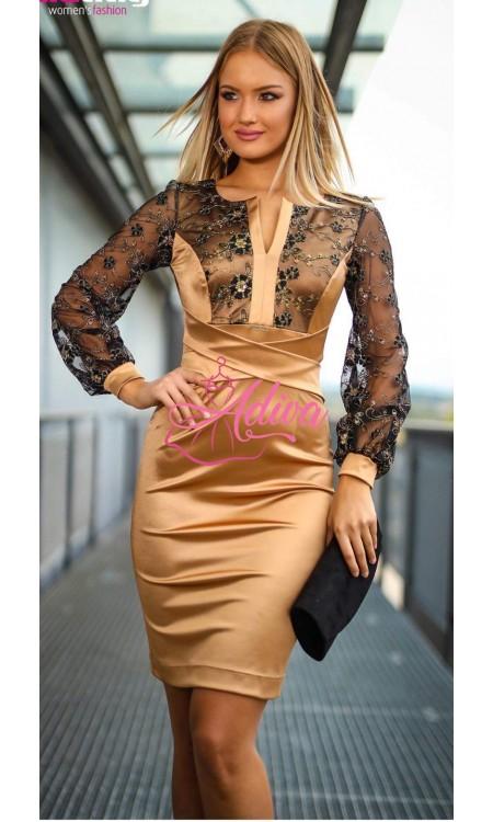 Zlaté šaty s čipkovými rukávmi