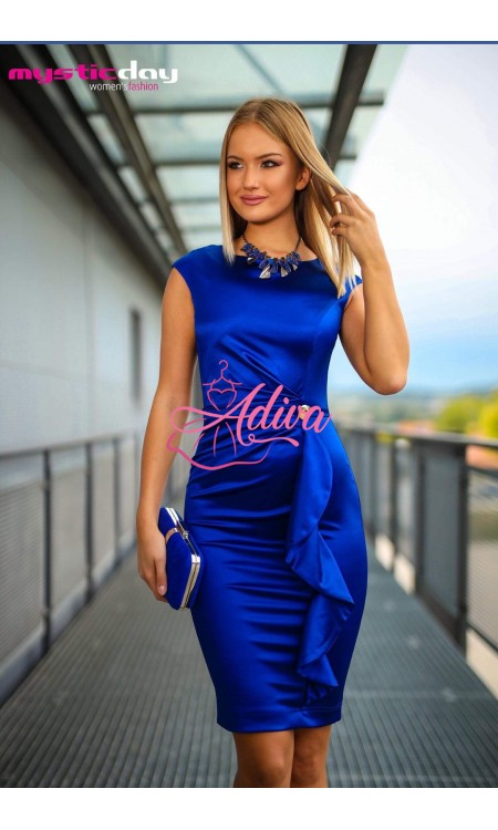 Modré elegantné saténové krátke šaty
