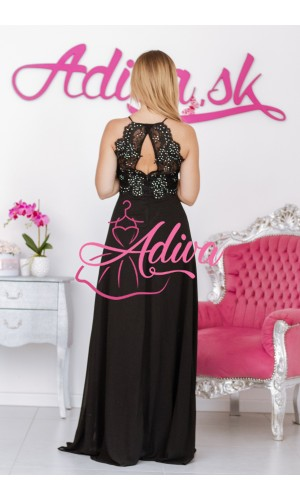 Dlhé spoločenské šaty s čipkou čierne BRIANA