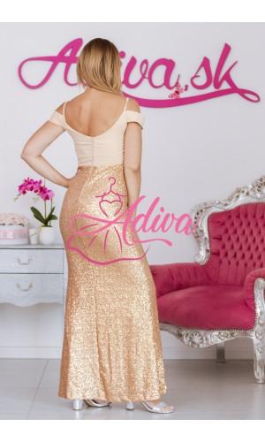 Zlaté priliehavé dlhé spoločenské šaty SUSAN