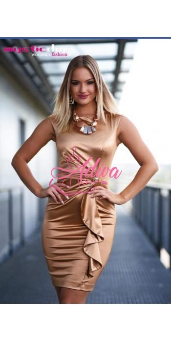 Zlaté elegantné saténové krátke šaty