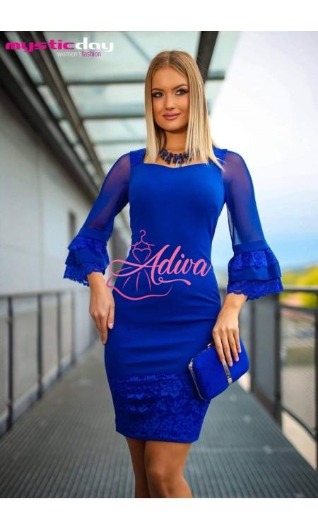 Elegantné modré šaty s čipkou