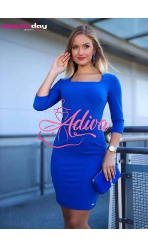 Puzdrové modré šaty s opaskom