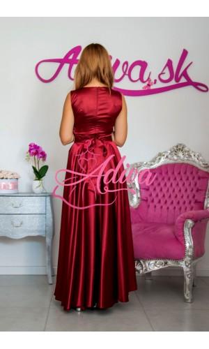 Bordové dlhé spoločenské šaty so štrasovým opaskom