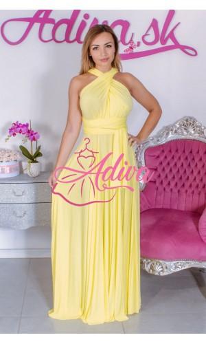 Žlté dlhé spoločenské šaty na rôzne viazanie