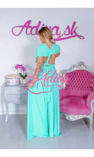 Mentolkové dlhé spoločenské šaty na rôzne viazanie