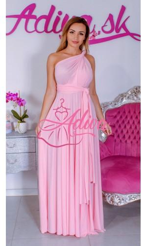 Ružové dlhé spoločenské šaty na rôzne viazanie