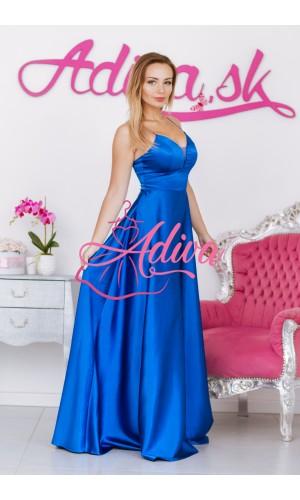 Dlhé saténové  spoločenské šaty modré DORIANE