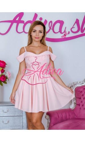 Ružové krátke šaty s čipkou ELVÍRA