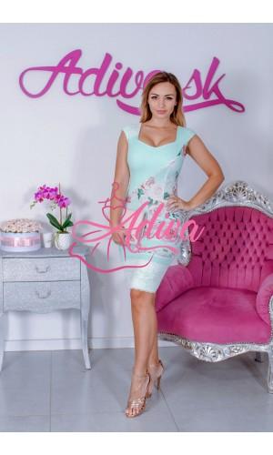 Mentolové elegantné puzdrové šaty s kvietkami a čipkou