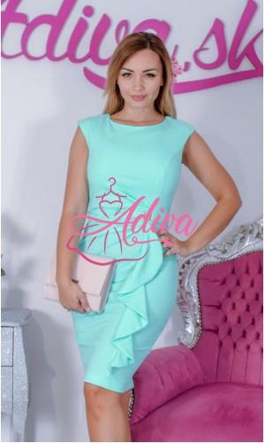 Mentolové elegantné puzdrové šaty s volánom