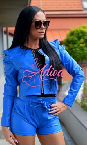 Krátka modrá koženková bunda Kenzy