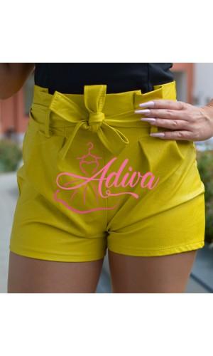Žlté koženkové dámske šortky