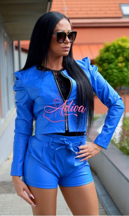 Modré koženkové dámske šortky