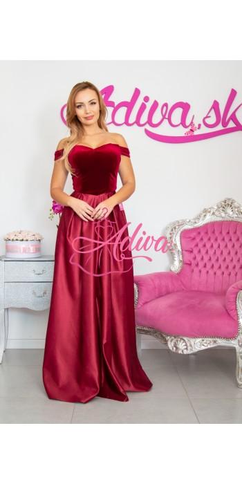 Plišové bordovové spoločenské šaty Royal