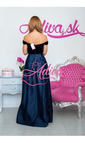 Plišové tmavomodré spoločenské šaty Royal
